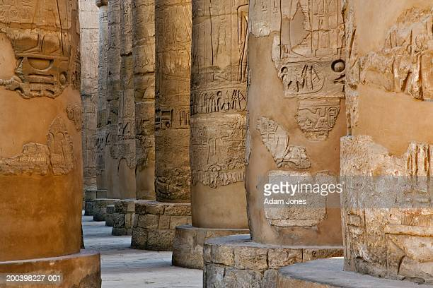 Egypt, Thebes, Luxor, Temples of Karnak, columns in Hypostyle Hall