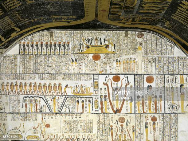 Egypt Thebes Luxor Valley of the Kings Tomb of Ramses VI Burial chamber Right wall Mural paintings illustrate Ra in solar bark phalluserect deity...