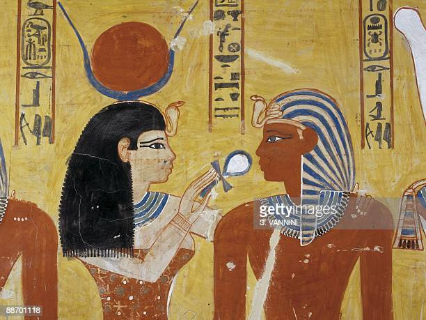 Egypt Thebes Luxor Valley of the Kings Tomb of Thutmose IV Vestibule Mural paintings Adoration of the gods Isis and pharaoh