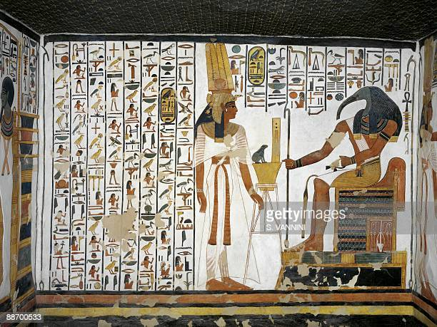 Egypt Thebes Luxor Valley of the Queens Tomb of Nefertari Annex to antechamber Mural paintings Queen before divine scribe Thoth Digital reconstruction