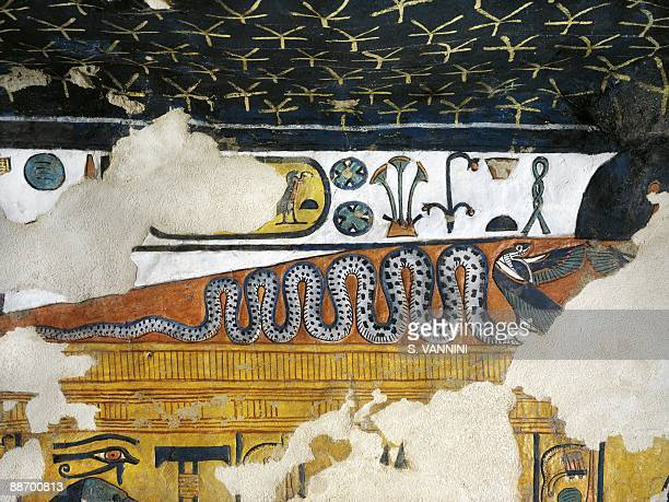 Egypt Thebes Luxor Valley of the Queens Tomb of Nefertari Annex to burial chamber Mural paintings Uraeus serpent with wings spread