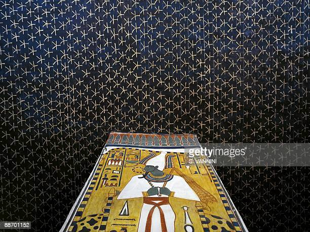 Egypt Thebes Luxor Valley of the Queens Tomb of Nefertari Burial chamber Mural paintings Starry sky vault and Osiris pillar Red belt symbolizes...