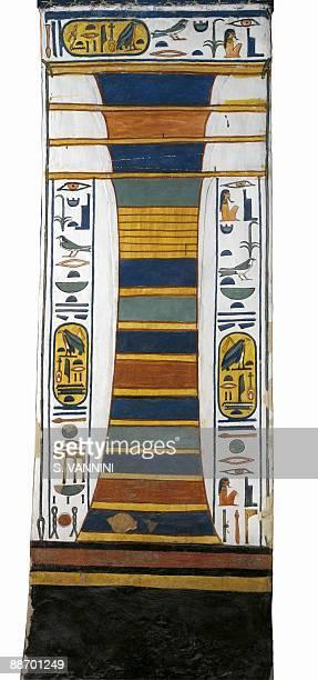 Egypt Thebes Luxor Valley of the Queens Tomb of Nefertari Burial chamber Pillar Mural paintings 'Djed' pillar represents Osiris' backbone bearing...