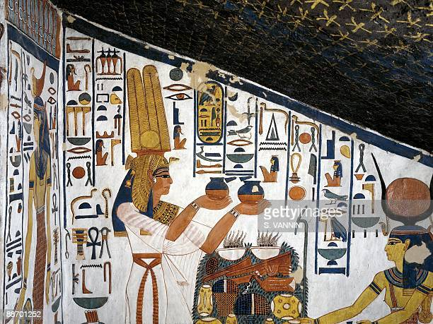Egypt Thebes Luxor Valley of the Queens Tomb of Nefertari Staircase Mural paintings Queen offering before Hathor