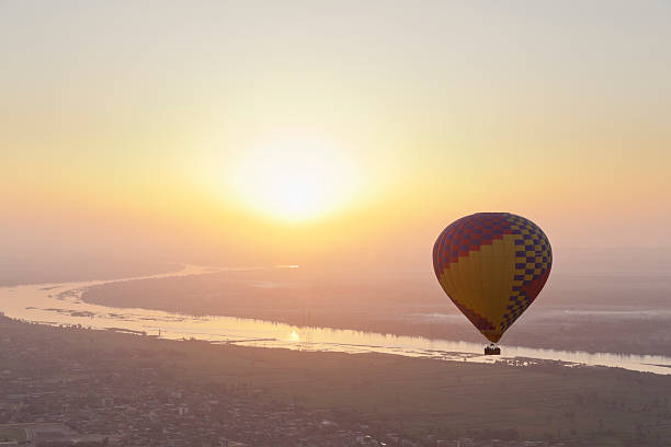 Egypt, View Of Hot Air Balloon Over Westbank In Luxor Wall Art
