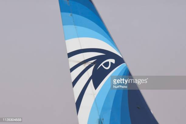 EgyptAir Airline logo seen on an aircraft at Queen Alia International Airport On Friday February 15 in Zizya Jordan