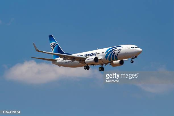 EgyptAir Boeing 737-800 aircraft with registration SU-GEF landing during a summer blue sky day in Athens International Airport AIA Eleftherios...