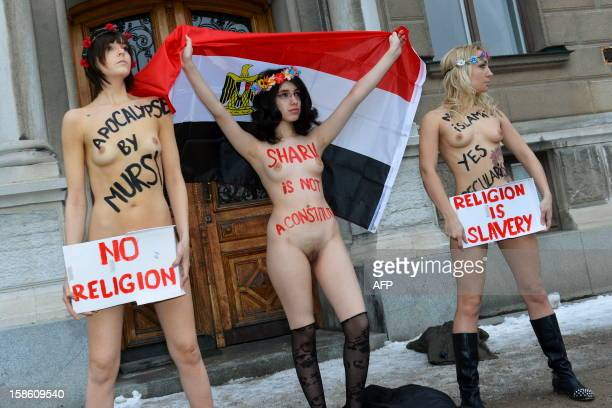 Egyptian activist Aliaa Elmahdy and members from Ukrainian feminist group Femen demonstrate against the Egyptian constitution in front of the...