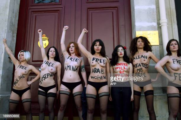 Egyptian activist Aliaa Elmahdy and other FEMEN feminist activist group members take part in a protest calling to support jailed FEMEN activists on...