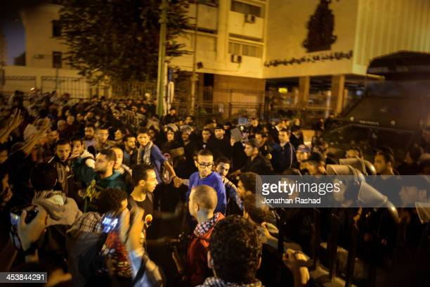 NOV Egyptian activists protest outside of the Shura Council Cairo Egypt in objection to the new protest law that bans protests without prior...