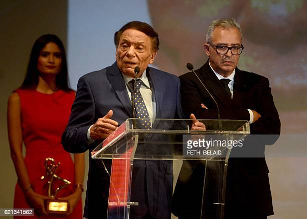Egyptian actor Adel Imam delivers a speech during the closing ceremony of the 27th Carthage Film Festival on November 5 in the Tunisian capital Tunis...