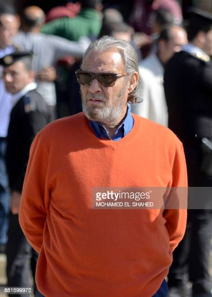 Egyptian actor Farouk alFeshawi attends the funeral of the late popular singer and actress Shadia at the Sayeda Nafisa mosque in the capital Cairo on...