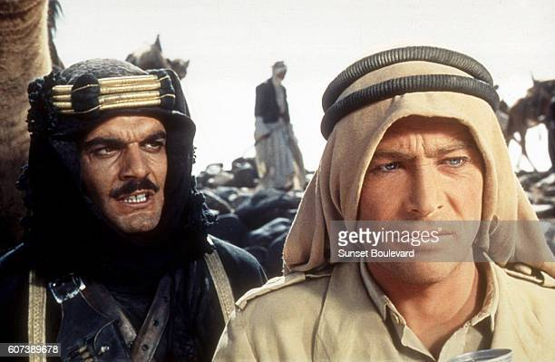 Egyptian actor Omar Sharif and Irish actor Peter O'Toole on the set of Lawrence of Arabia directed by David Lean