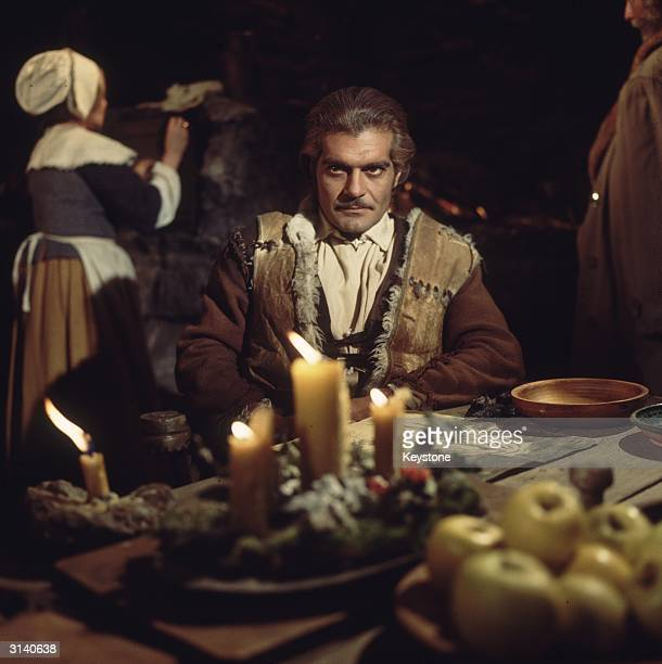 Egyptian actor Omar Sharif during the filming of James Clavell's adventure film 'The Last Valley'