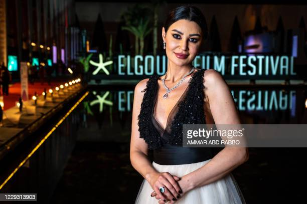 """Egyptian actress Arwa Gouda arrives for the screening of the movie """"The Kid"""" on 5th day of the 4th edition of El-Gouna Film Festival, in El-Gouna,..."""