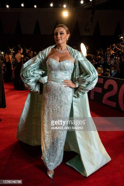 Egyptian actress Bushra Rozza arrives at the opening ceremony of the 4th edition of El Gouna Film Festival in the Egyptian Red Sea resort of el Gouna...