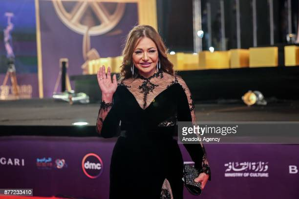 Egyptian actress Laila Elwi arrives at the opening ceremony of the 39th Cairo International Film Festival is held at Al Manara Conference Center in...