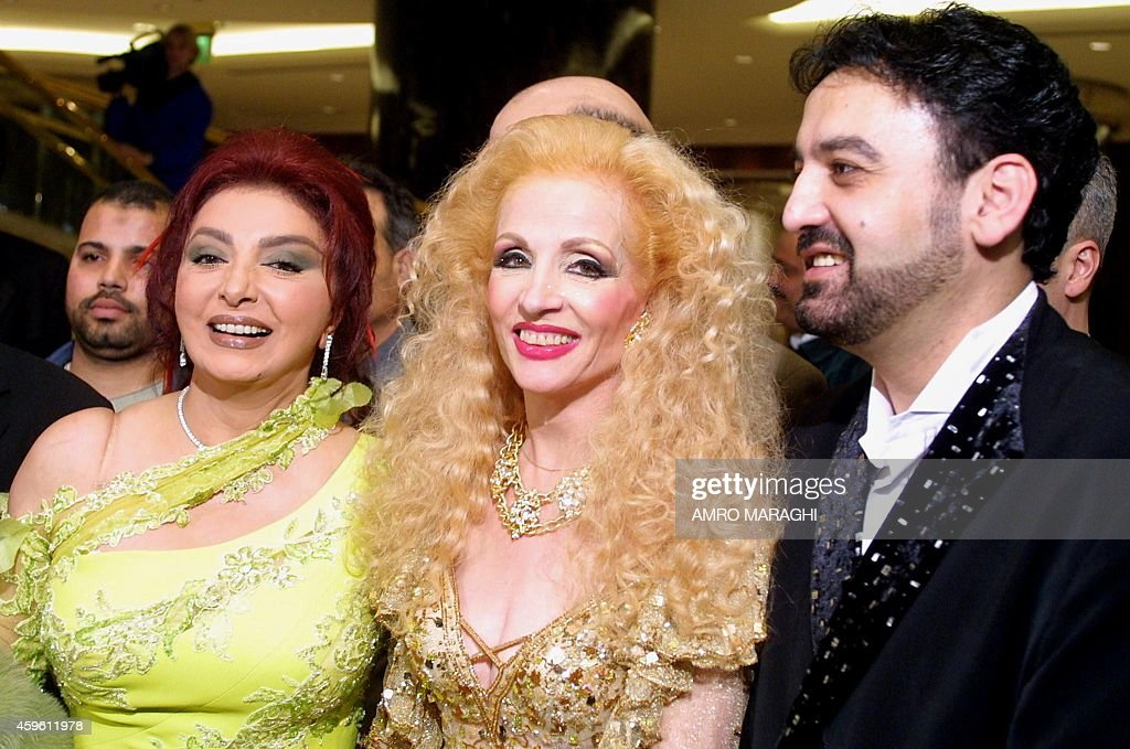 Egyptian actress Nabila Obeid poses with Lebanese singer Sabah and