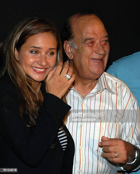 Egyptian actress Nelly Karim and actor Hasan Hosni stand together at Giza studios 15 August 2007 on the first day of the shooting of the new movie...