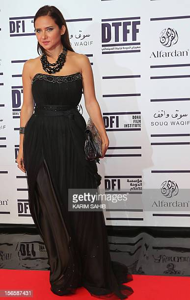 Egyptian actress Nelly Karim attends the opening night ceremony of the Doha Tribeca Film Festival in the Qatari capital on November 17 2012 AFP PHOTO...