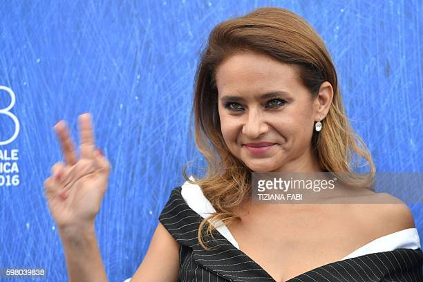 Egyptian actress Nelly Karim member of the jury Orizzonti poses during a photocall at the 73rd Venice Film Festival on August 31 2016 at Venice Lido...