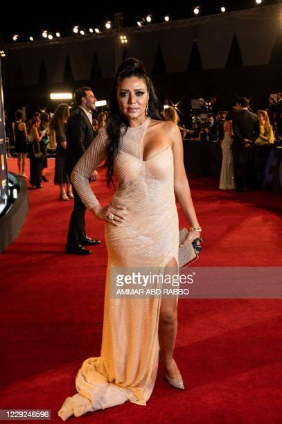 Egyptian actress Rania Youssef arrives at the opening ceremony of the 4th edition of El Gouna Film Festival, in the Egyptian Red Sea resort of el...