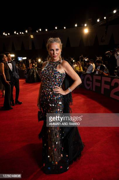 Egyptian actress Shereen Reda arrives at the opening ceremony of the 4th edition of El Gouna Film Festival, in the Egyptian Red Sea resort of el...