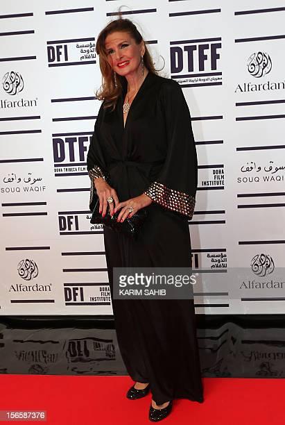 Egyptian actress Yusra attends the opening night of the Doha Tribeca Film Festival in the Qatari capital on November 17 2012 AFP PHOTO/KARIM SAHIB