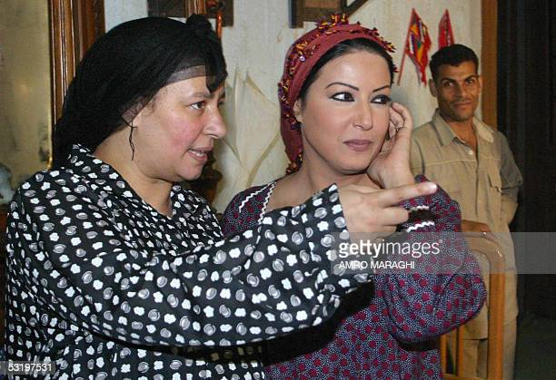 Egyptian actresses Abla Kamel and Sumaya alKhashab who will star in the new TV series Rayya wa Skina rehearse on the first day of shooting in Cairo...