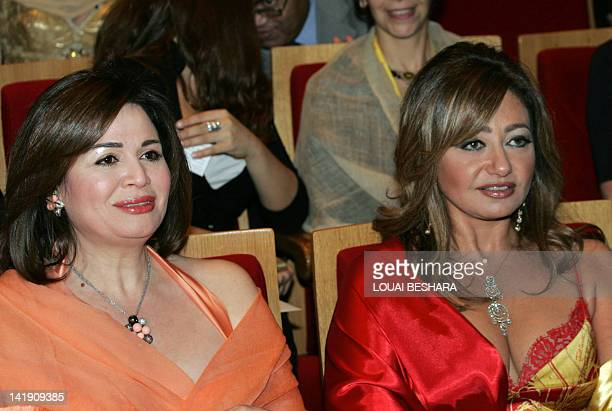 Egyptian actresses Leila Elwi and Elham Shahin attend the opening ceremony of the 15th Damascus International Film Festival in Damascus 01 November...