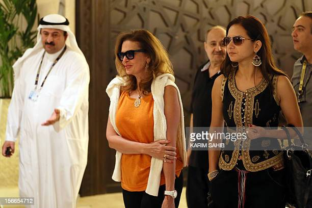 Egyptian actresses Yusra and Nelly Karim are pictured during the Doha Tribeca Film Festival in the Qatari capital on November 18 2012 AFP PHOTO...