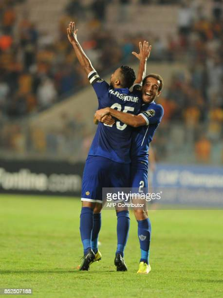 Egyptian Ahly Cairo team captain jubilates after scoring agains Tunisian Esperance de Tunis during the final quart of African Champions league in...