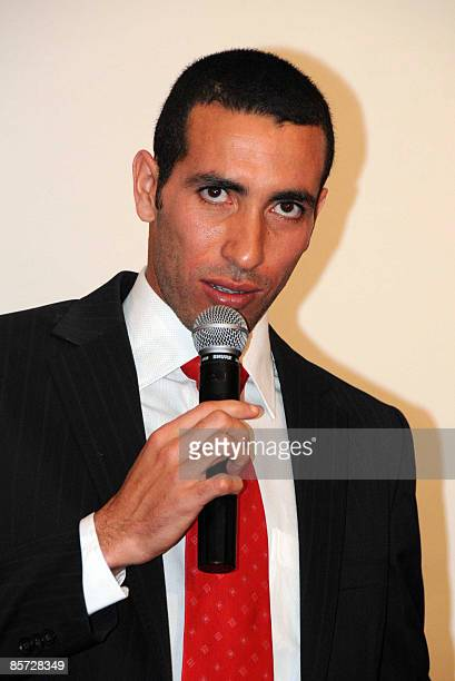 Egyptian Al Ahly striker Mohammed Aboutrika speaks on March 30 2009 after receiving the award of best 2008 Arabic football player during a ceremony...