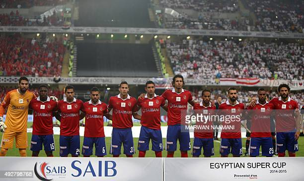 Egyptian AlAhly team's players pose before the Egypt super cup football match between Egypt's AlAhly SC and Zamalek October 15 2015 at Sheik Hazza...