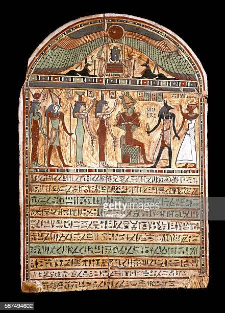funerary stele of a high priest Osiris welcomes the deceased presented to Anubis behind him the deities Isis Nephthys Horus Hathor 3rd2nd century BC...