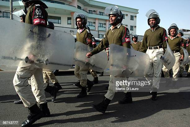 Egyptian antiriot Police stand in front of the General Hospital during the visit of Egyptian President Hosni Mubarak February 4 2006 in Hurghada...