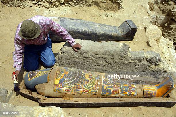 Egyptian archaeologist Sabri Farag surveys a brilliantly colored mummy dating back more than 2300 years 03 May at Egypt's Saqqara Pyramids complex...