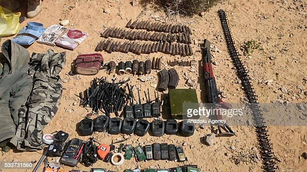 Egyptian armed forces display ammunition weapons and explosives captured through operations as 13 armed terrorists are neutralized in Sinai Peninsula...