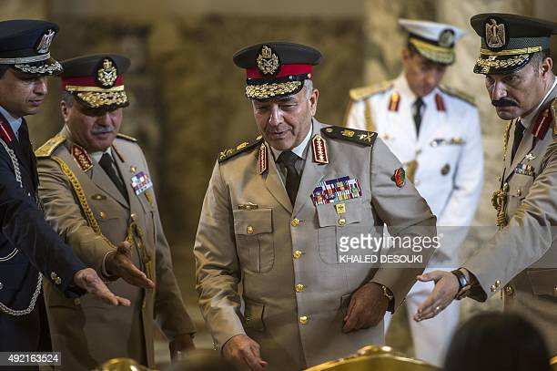 Egyptian army's chief of staff Mahmoud Hegazy arrives for a ceremony to sign military contracts at the presidential palace on October 10 2015 in the...