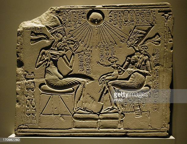 Egyptian art A house altar depicting Akhenaten Nefertiti and three of their Daughters Relief Limestone New Kingdom Amarna period 18th dynasty C 1350...