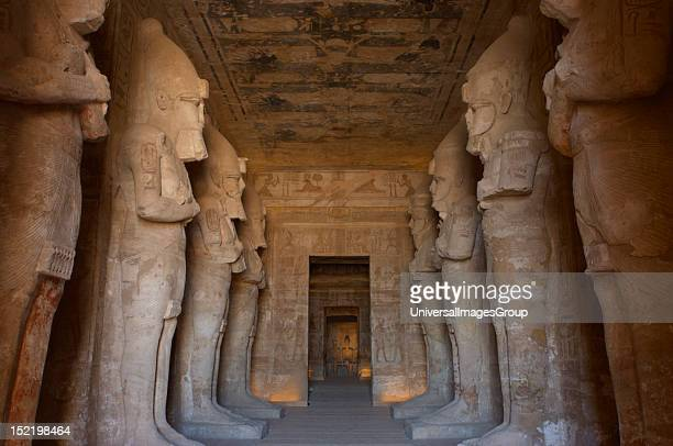Egyptian art Great Temple of Ramses II Funerary temple carved in the rock View from inside the first room with eight statues of Ramses II as the god...