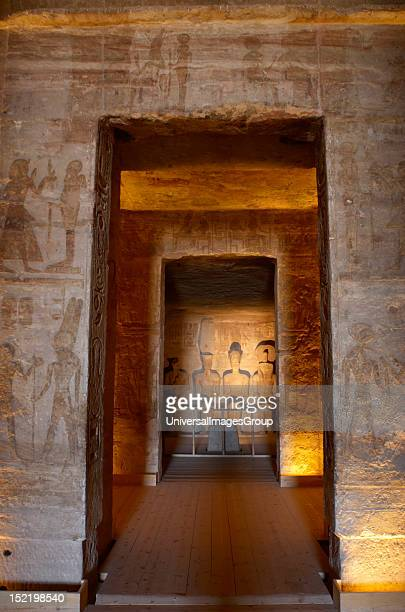 Egyptian art Great Temple of Ramses II Holy of Holies depicting four seated statues Ra Ptah Amun and Ramses II 19th dynasty New Kingdom Abu Simbel...