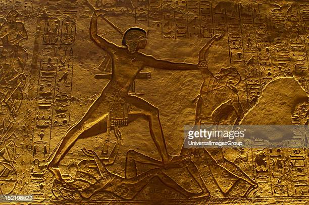Egyptian art Great Temple of Ramses II Military campaign The pharaoh Ramses II fighting with an enemy 19th Dynasty New Kingdom Abu Simbel Egypt