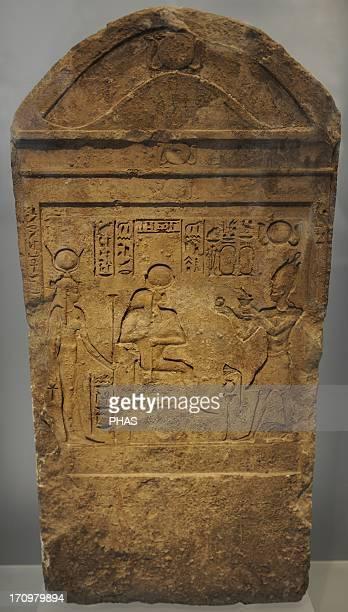 Egyptian Art Ptolemaic period Stele King sacrificing to Isis and Serapis Relief Ny Carlsberg Glyptotek Copenhagen Denmark