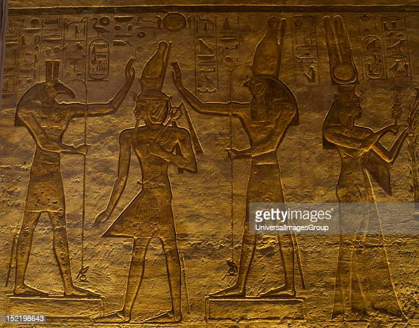 Egyptian art Small Temple or Temple of Hathor 19th dynasty New Empire The gods Set and Horus adoring Ramses II Abu Simbel Egypt