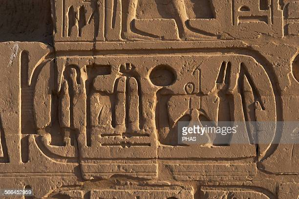 Egyptian Art The Karnak Temple Complex Hieroglyphic writing Royal protocol of Ramesses VI NebmaatreMeryamun He reigned from 1145 BC to 1137 BC 20th...