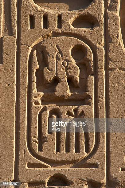 Egyptian Art The Karnak Temple Complex Hieroglyphic writing Royal protocol of Ramesses II Fifth title of the Pharaoh son of Ra19th Dynasty New Empire...