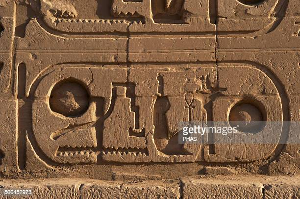 Egyptian Art The Karnak Temple Complex Hieroglyphic writing Royal protocol of Ramesses II Fifth title of the Pharaoh son of Ra 19th Dynasty New...