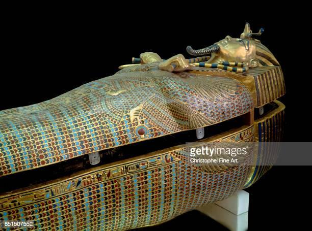 Egyptian Art. Tutankhamun Treasure. Golden Sarcophagus. Cairo, Egyptian Museum.