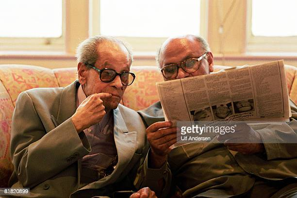 Egyptian author Naguib Mahfouz meets his friends on a boat on the 9th of June on the Nile RiverCairoEgypt